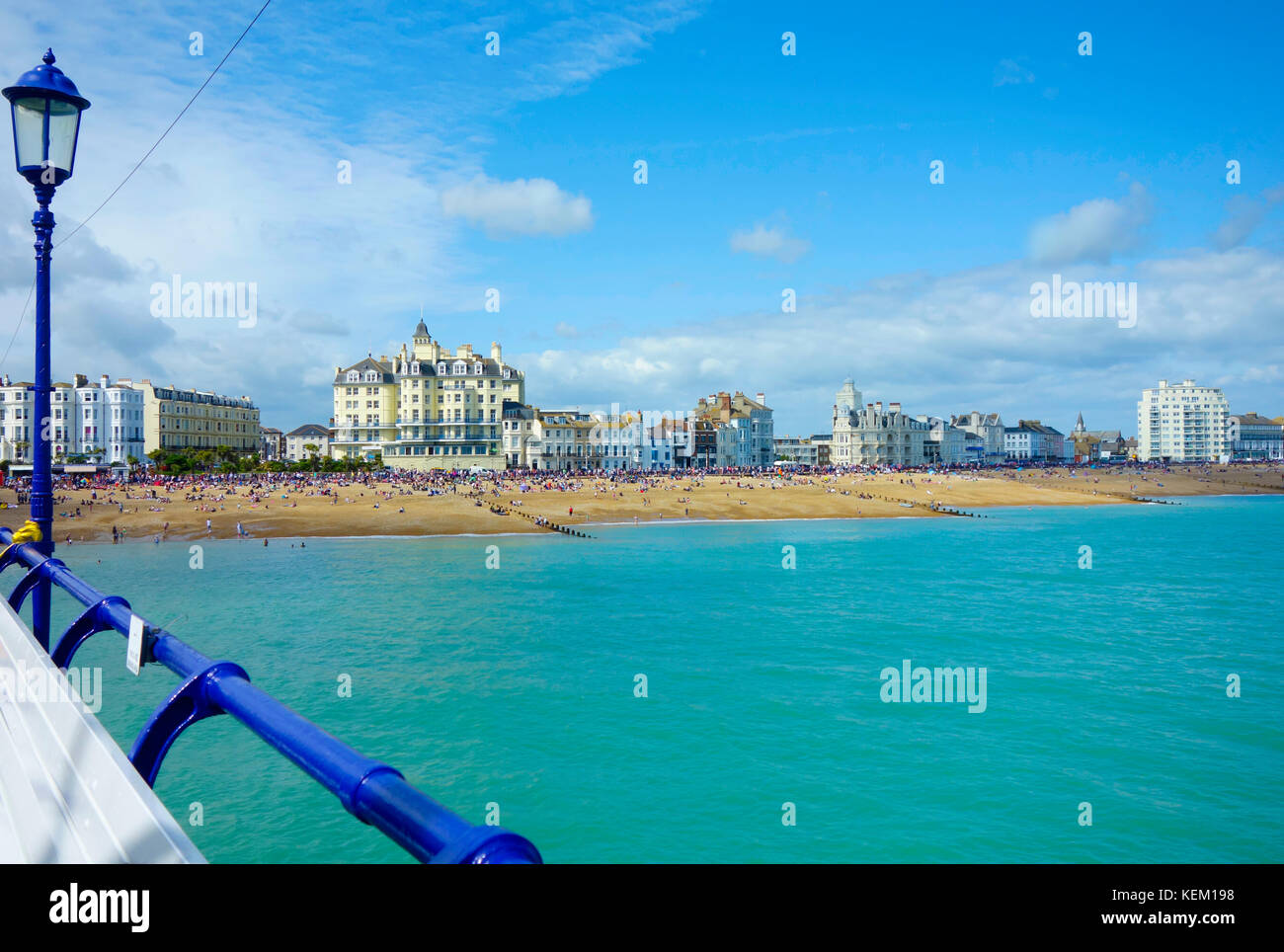 Eastbourne Beach view from Eastbourne Pier, during heatwave and Airshow day. - Stock Image