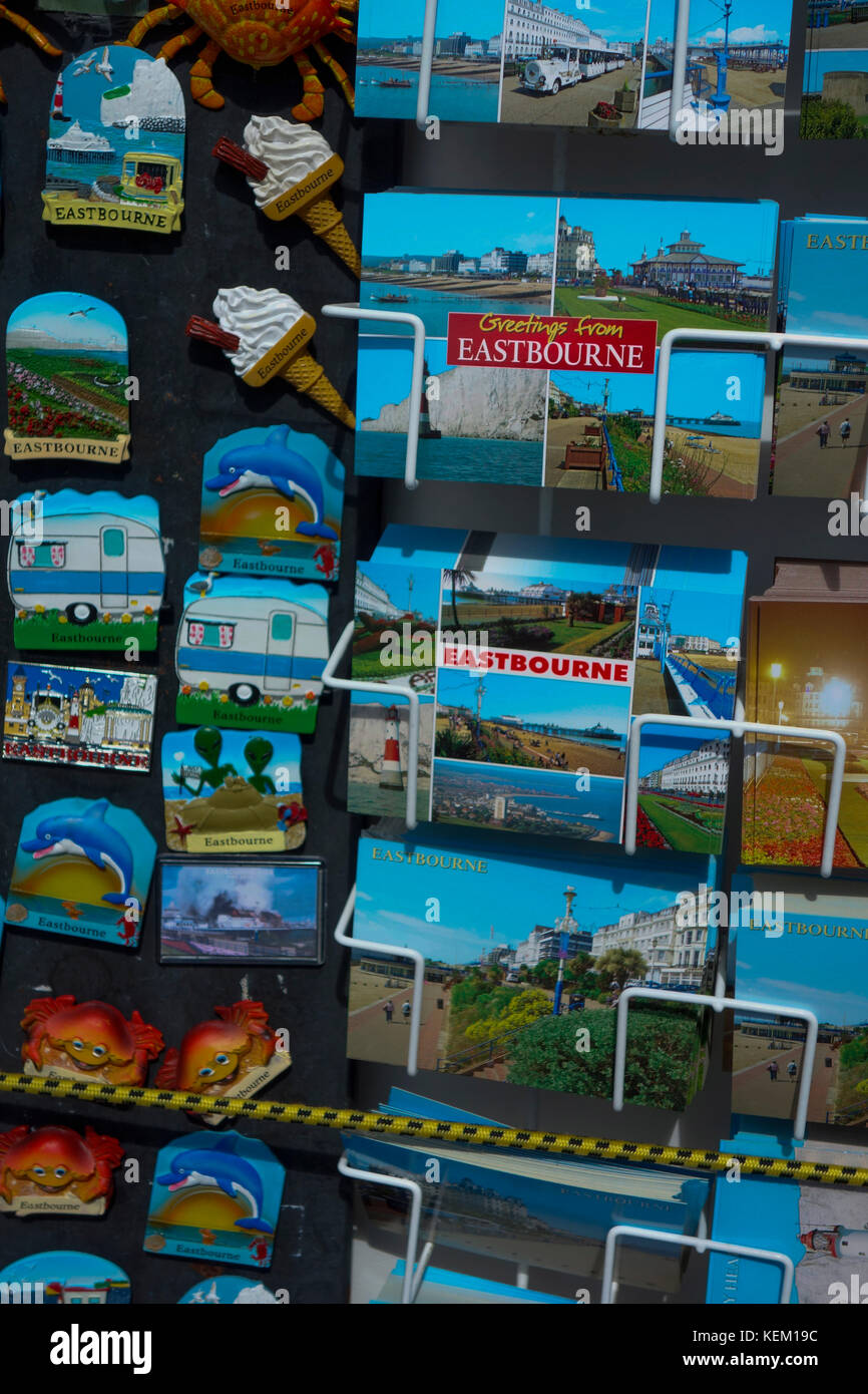 Seaside Postcards at souvenir shop in Eastbourne, East Sussex, UK - Stock Image