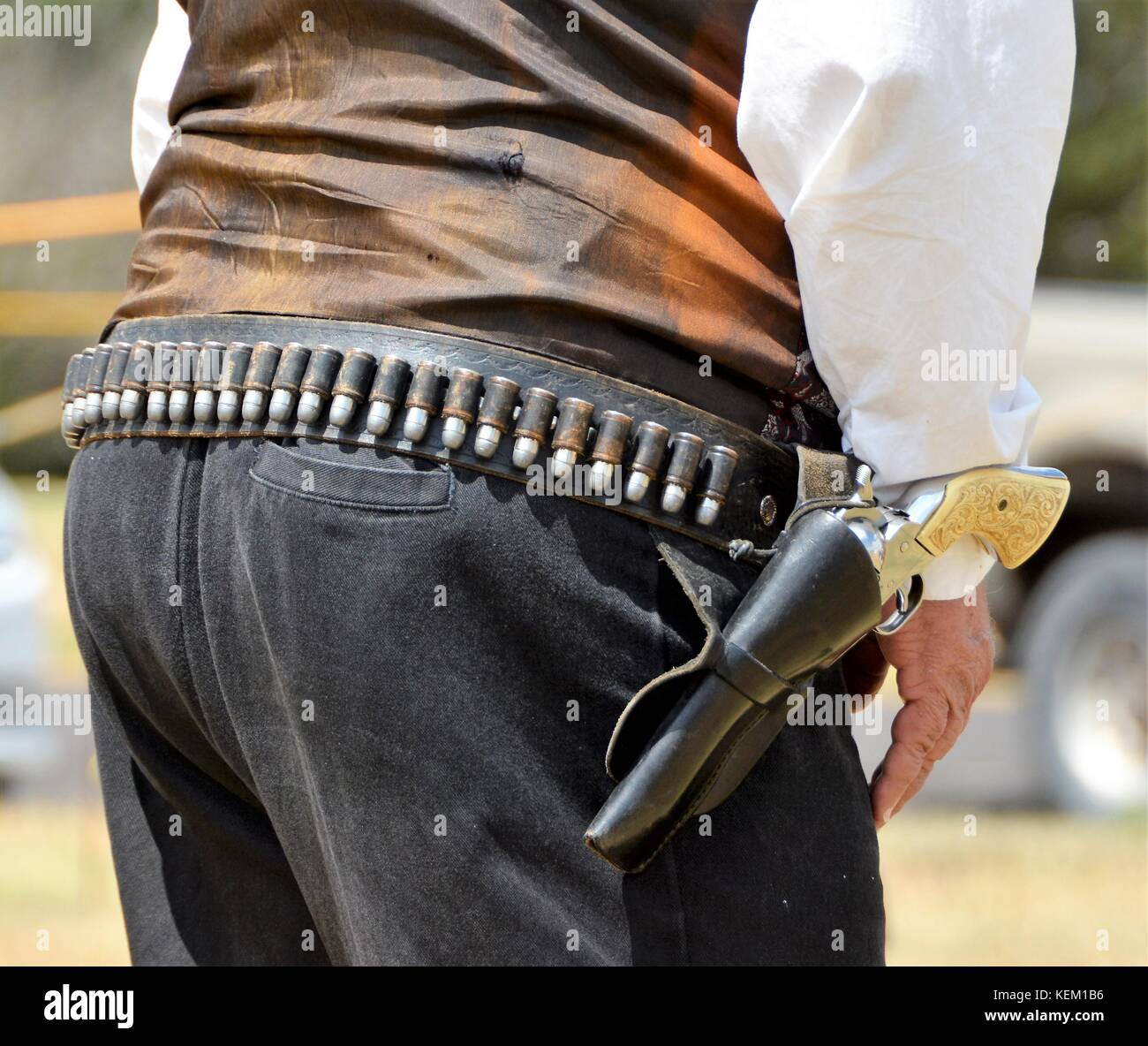 Western Holsters with Six Shooter Revolvers Stock Photo: 163938634