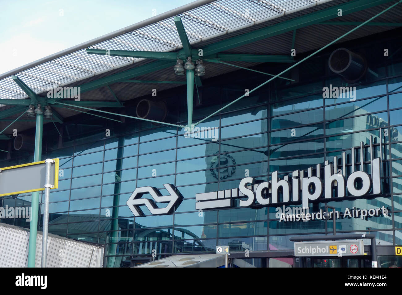Entrance to Amsterdam Airport Schiphol and Amsterdam Train Station. - Stock Image