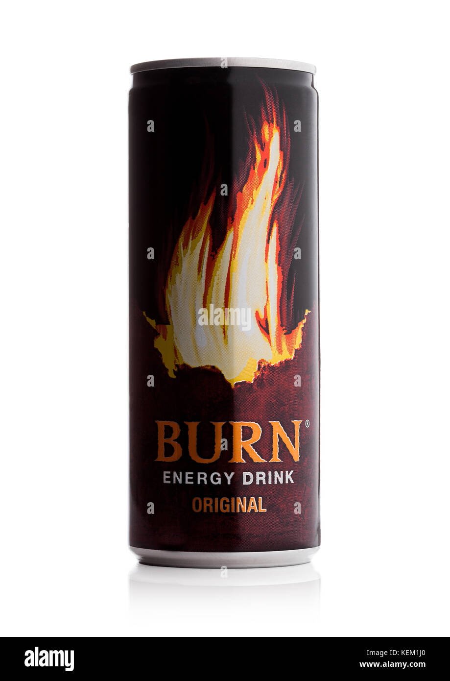 LONDON, UK - OCTOBER 20, 2017: Can of Burn Energy Drink Original on white background. Burn energy is made for keeping - Stock Image