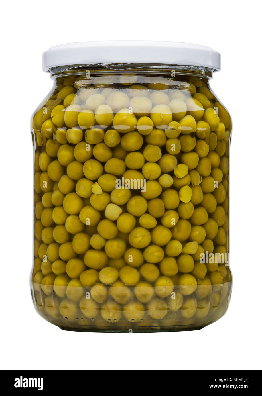 Glass jar of preserved peas isolated on white background - Stock Image