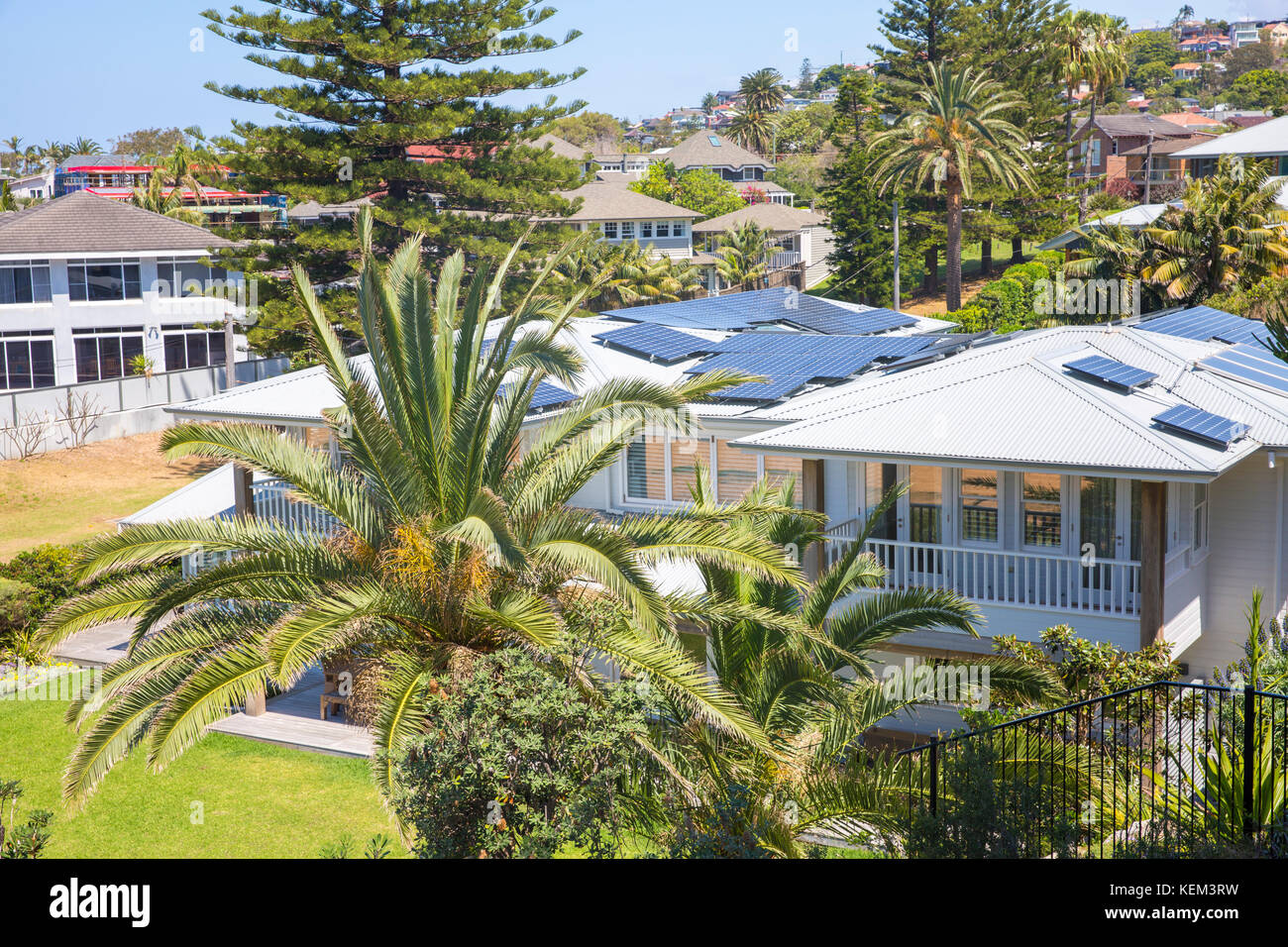 Residential beachfront home house with solar panels on roof in Collaroy,Sydney,Australia - Stock Image