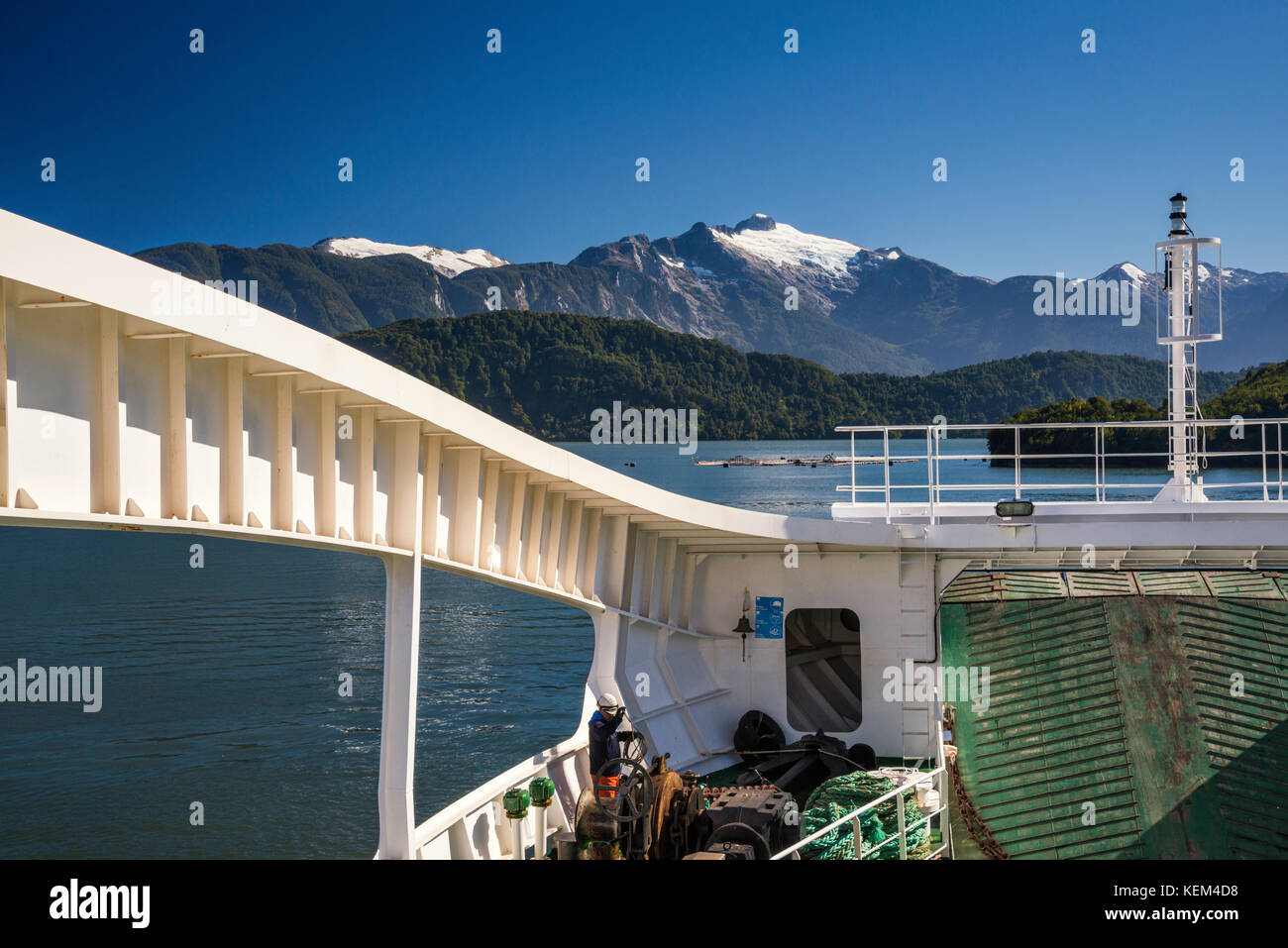 Quelat ferry, in Aisen Fjord near Puerto Chacabuco, Aysen Region, Patagonia, Chile - Stock Image