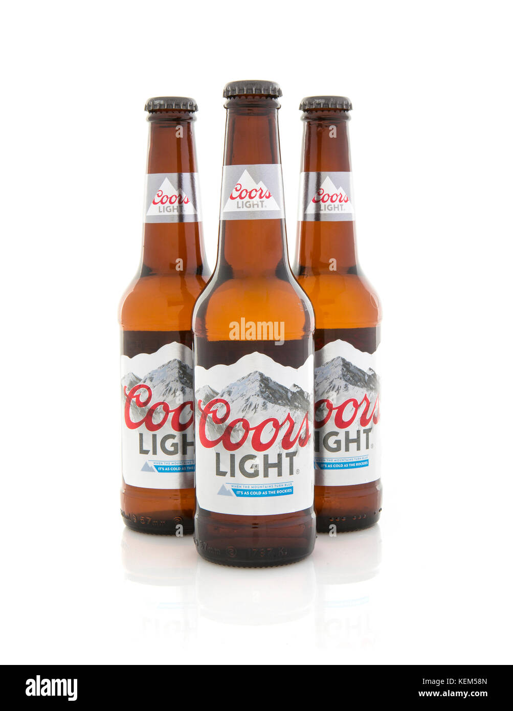 Coors light stock photos coors light stock images alamy swindon uk october 22 2017 three bottles of coors light beer on aloadofball Images