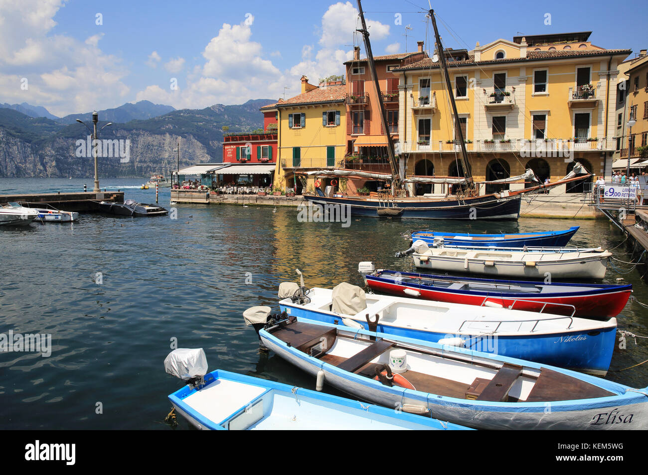 Malcesine, on Lake Garda, in the Lombardy region, in north Italy Stock Photo