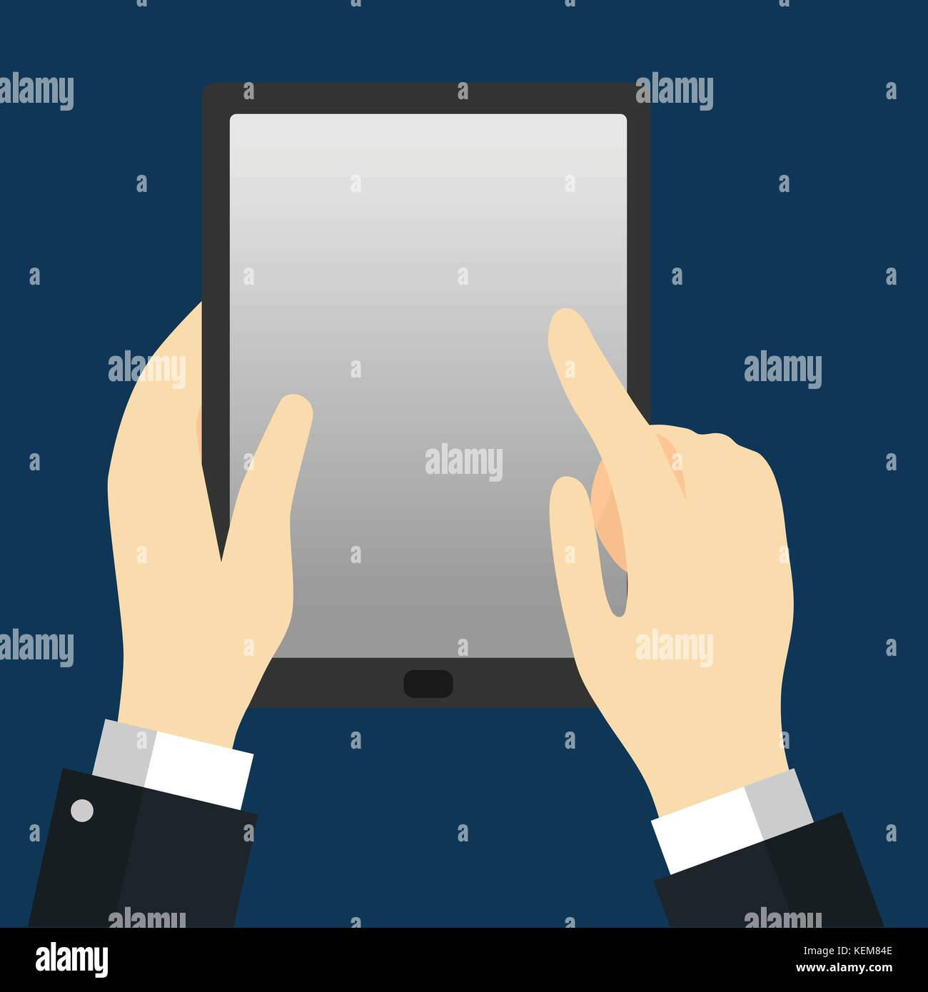 Businessman holding Tablet, Hand touching tablet screen for business concept, Vector Illustration Flat Design - Stock Vector