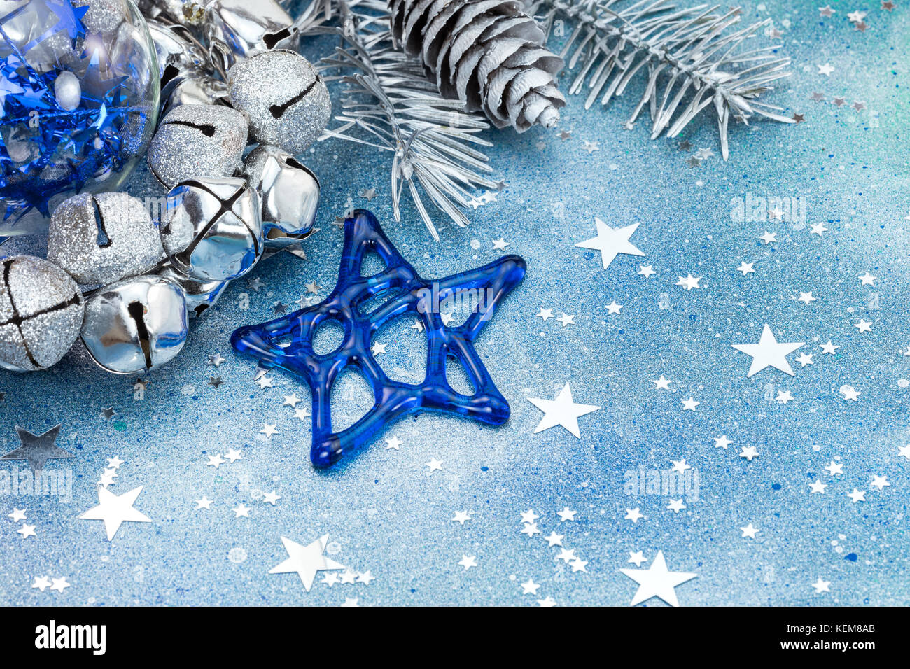 Silver Christmas Tree Branch With Cones And Christmas Decorations On Stock Photo Alamy