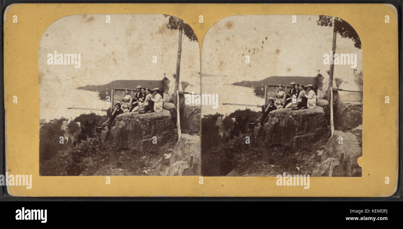 Picnic, Fort Lee, Hudson River, from Robert N. Dennis collection of stereoscopic views - Stock Image