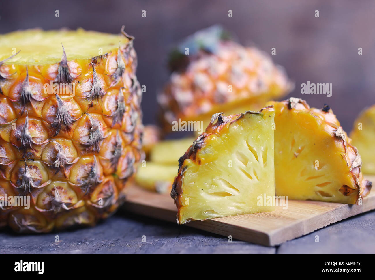 Fresh fragrant and juicy fruits on the wooden background image of a healthy diet - Stock Image
