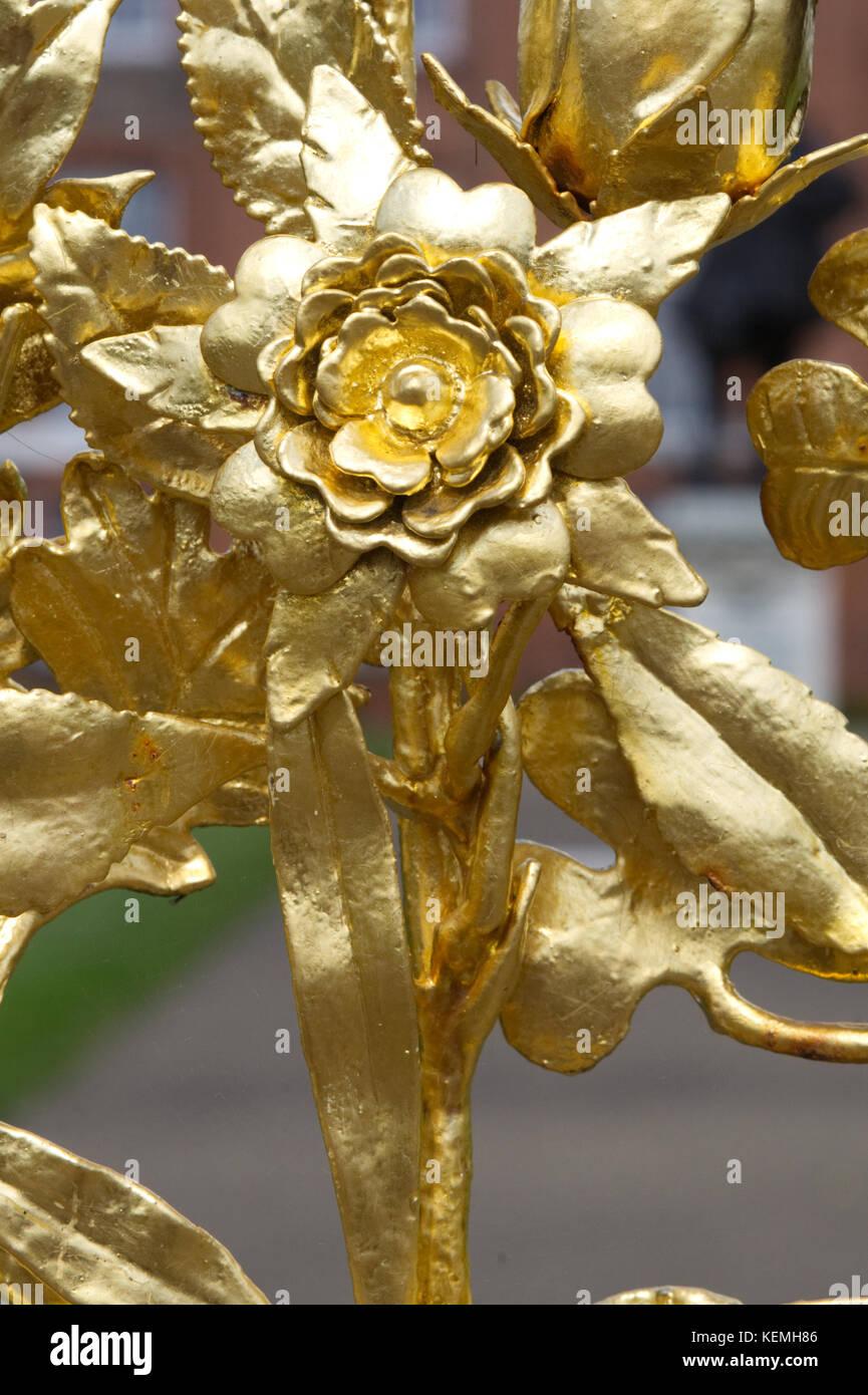decorative golden flower design - Stock Image