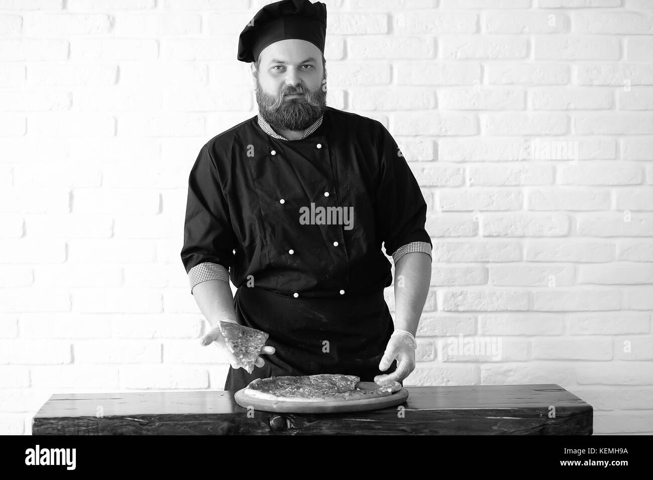cook black and white photo - Stock Image