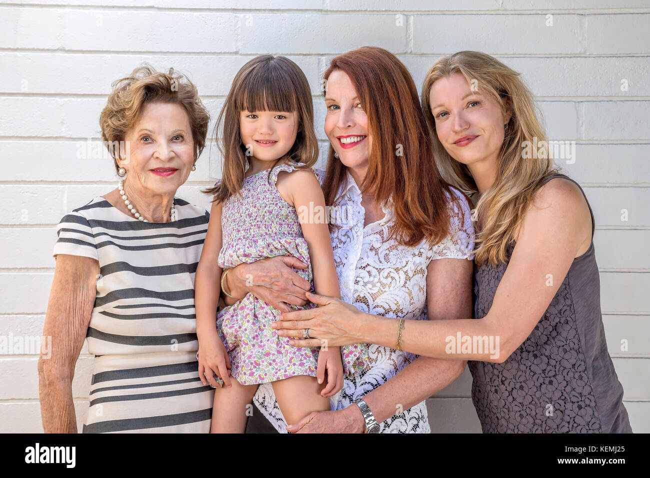 Four generations of female family - Stock Image