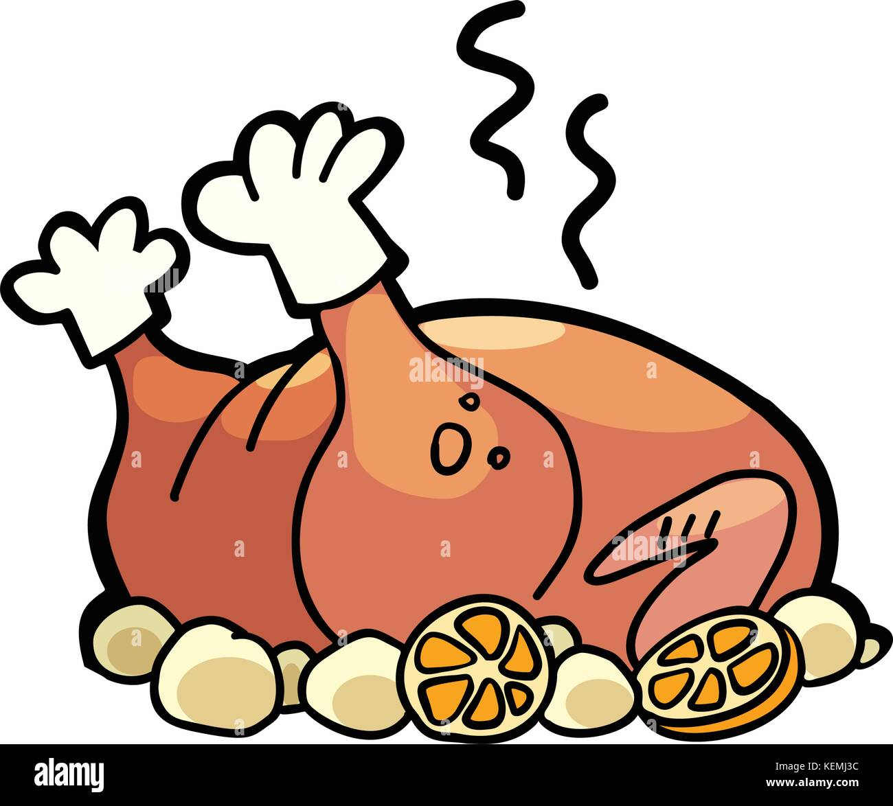 Baked poultry, chicken Turkey or goose - Stock Vector
