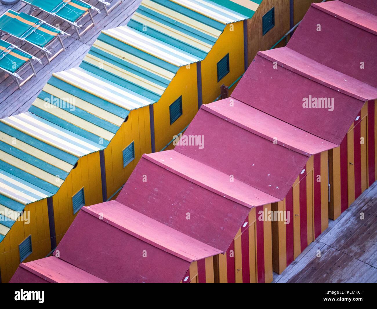 Beach huts in Sorrento, Italy Stock Photo