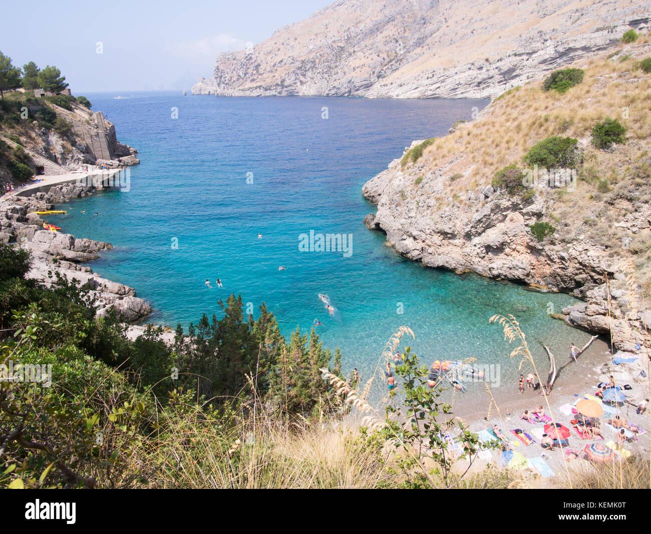 The Bay of Ieranto on the Amalfi Coast Stock Photo