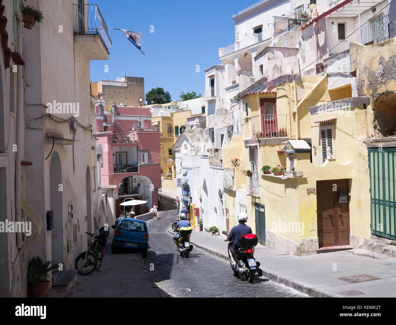 A street scene on the island of Procida, Italy Stock Photo