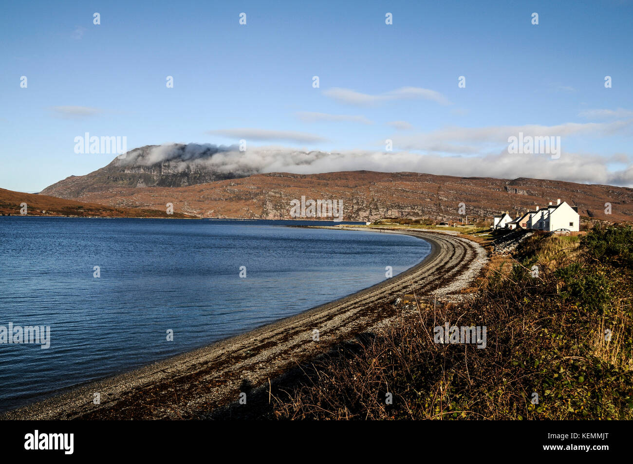 Ardmir point is a remote place and lies three miles north of Ullapool. Ardmir point is a peninsla with a cured pebble - Stock Image