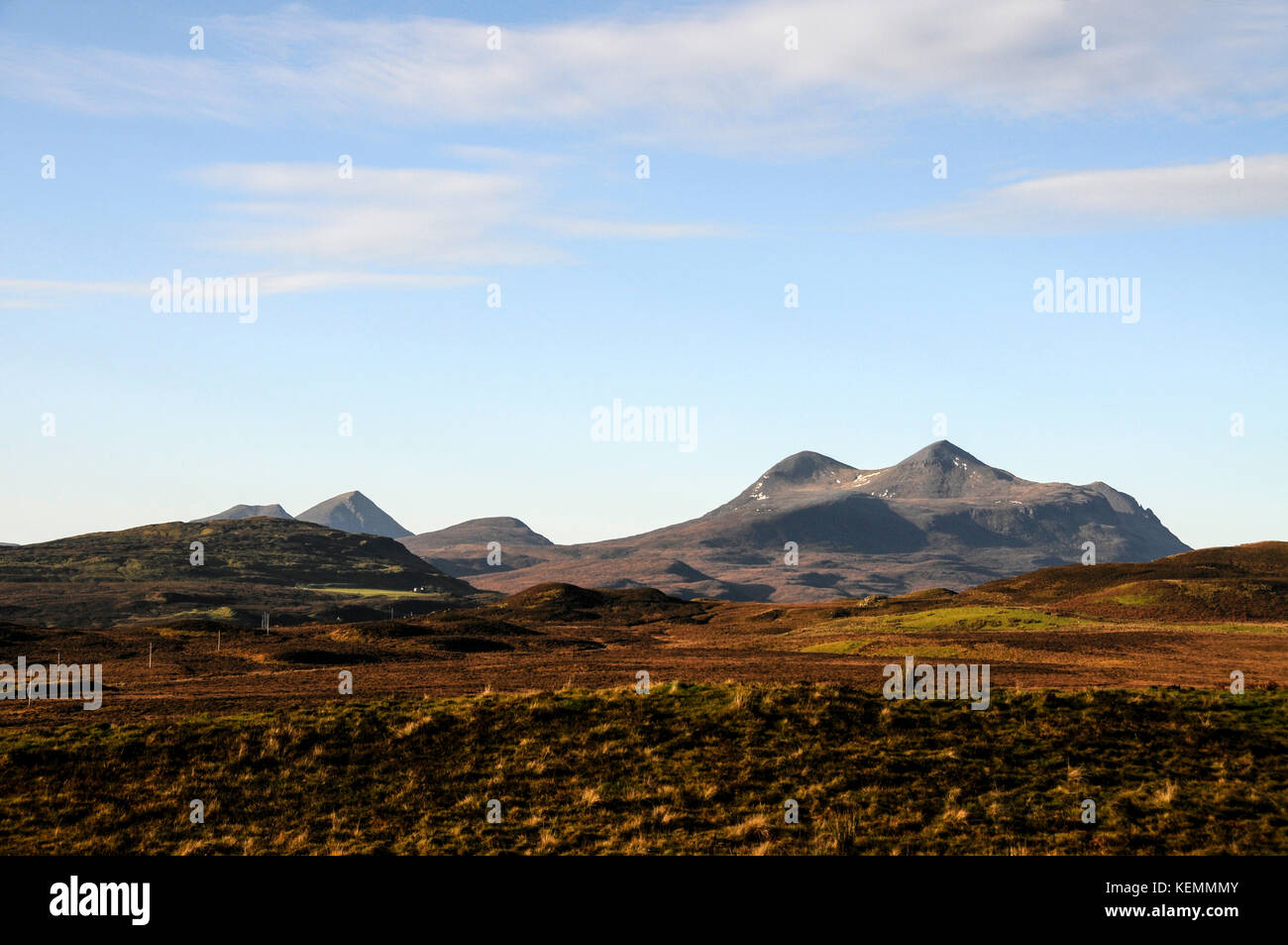 Quinag mountain scene from the A 894 road that winds it's way north to Durness from Ullapool. Sutherland, Northwest - Stock Image