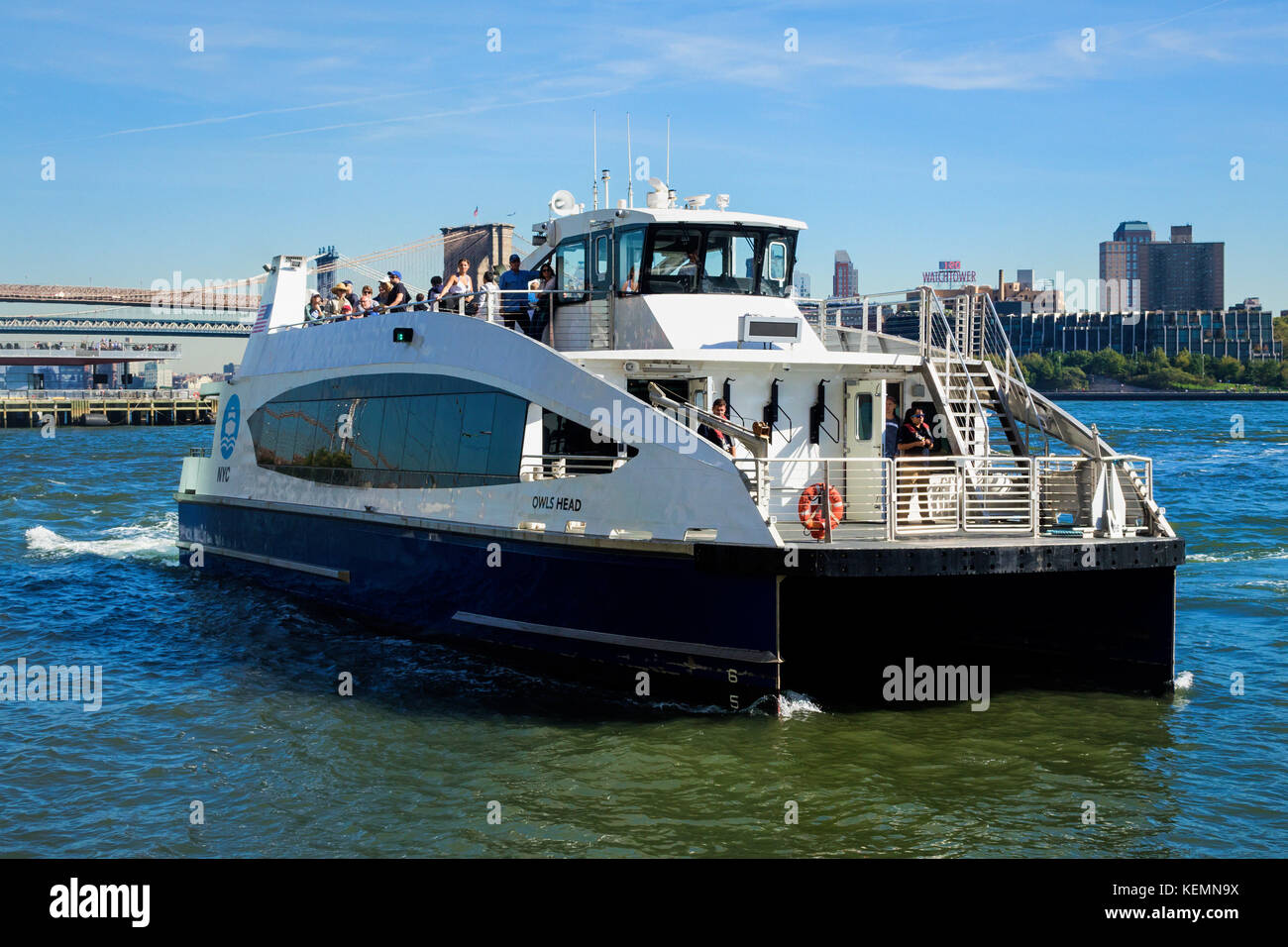 Rockaway Ferry about to dock at Pier 11 near Wall Street