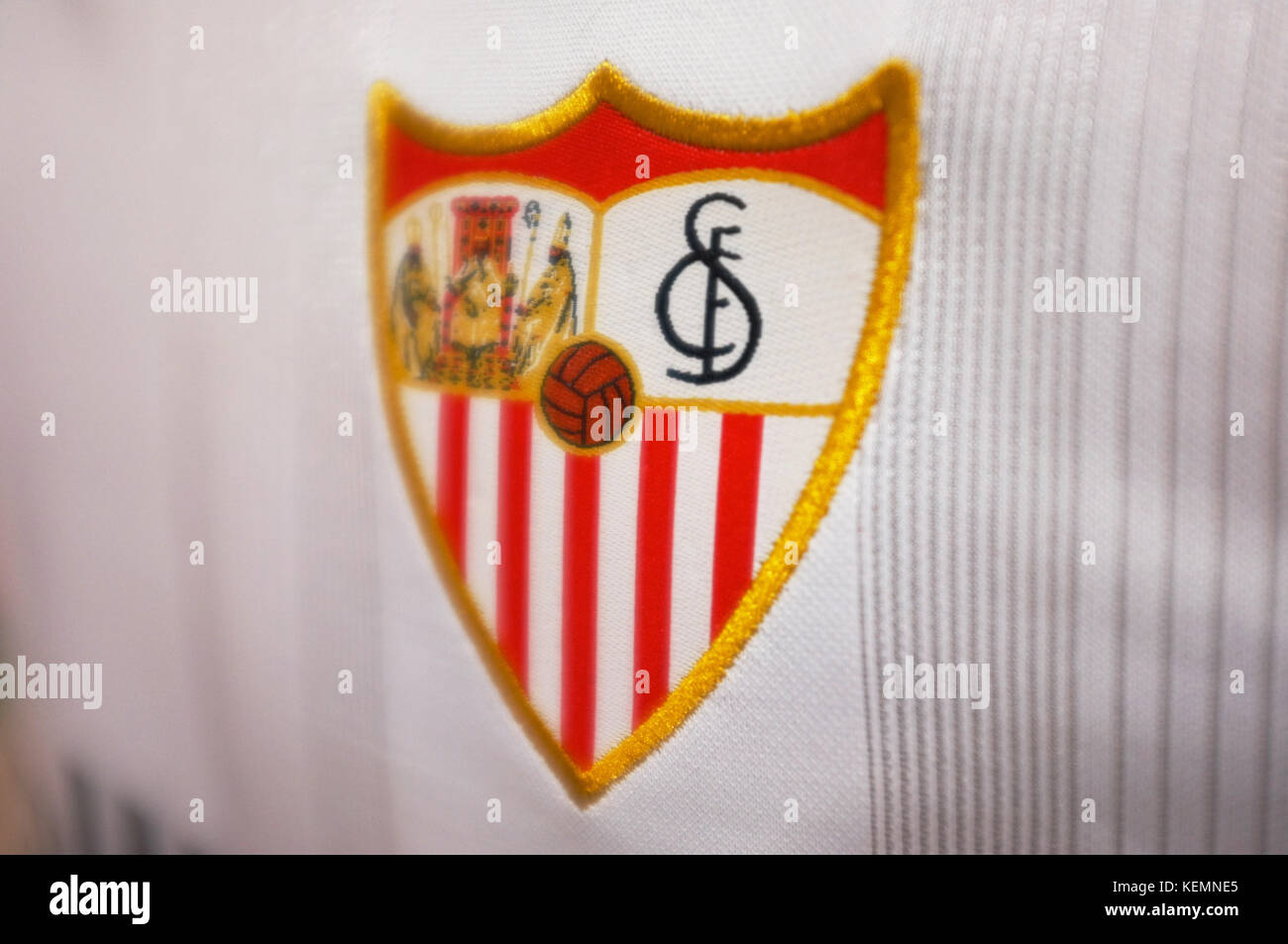The Crest Of Sevilla Fc On A Shirt In The Shop At Ramon Sanchez Pizjuan Stadium Sevilla Fc Vs Las Palmas Seville Andalucia Spain September 2017 Stock Photo Alamy