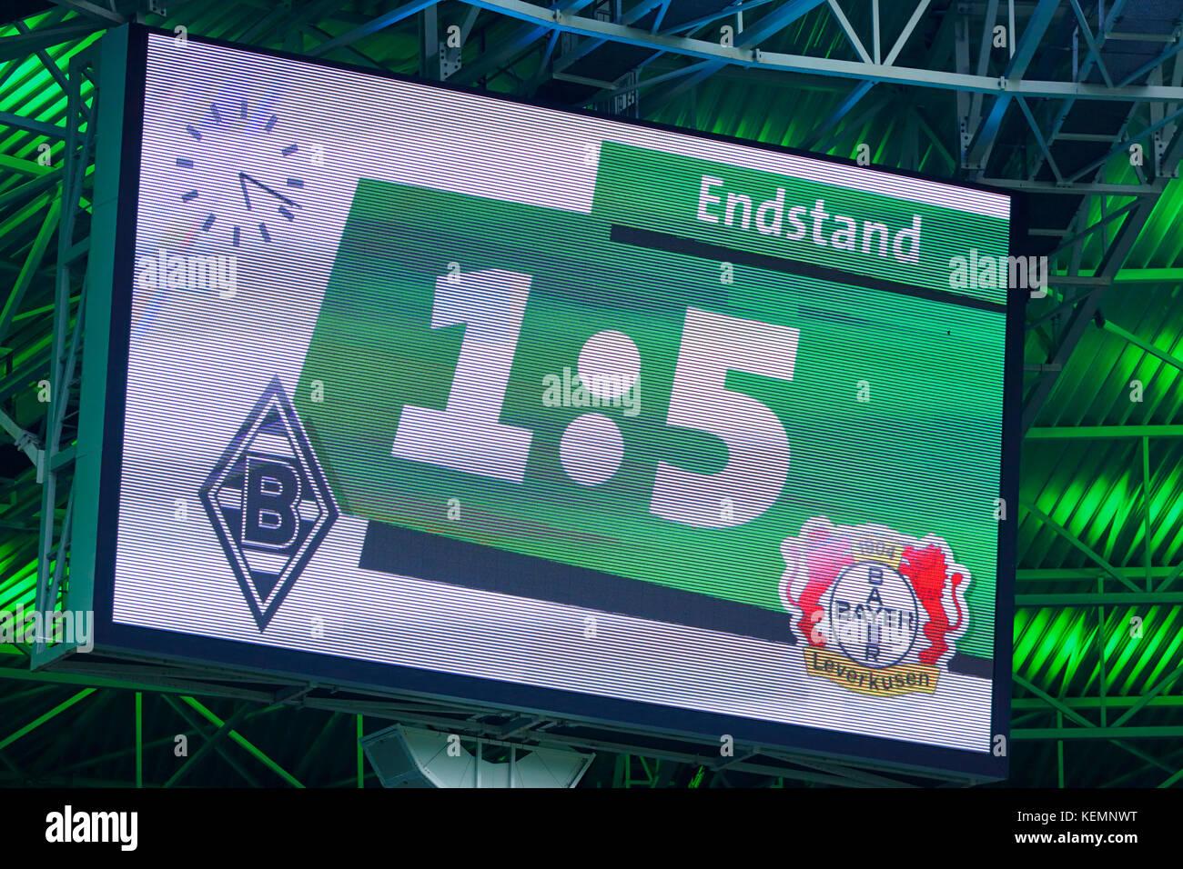 sports,football,Bundesliga,2017/2018,Borussia Moenchengladbach vs Bayer 04 Leverkusen 1:5,Stadium Borussia Park,final result shown at the scoreboard Stock Photo