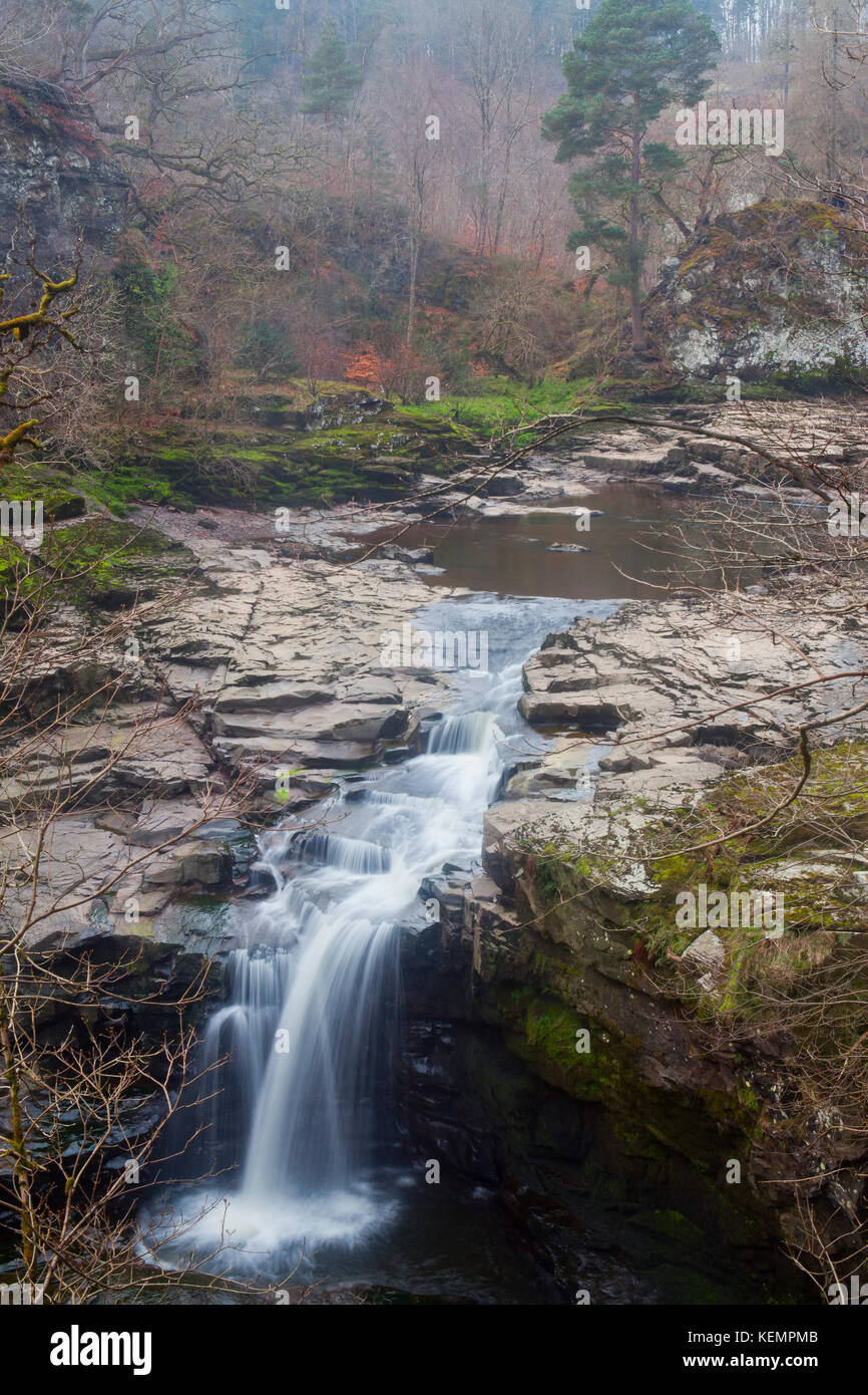 The Falls of Clyde in Autumn at New Lanark, where Dorothy Wordsworth, William Wordsworth and Samuel Taylor Coleridge - Stock Image