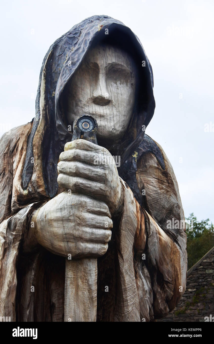 Druid Statue, Molly Gallivans Visitor Centre, Bonane, Kenmare, County Kerry, Ireland - John Gollop - Stock Image