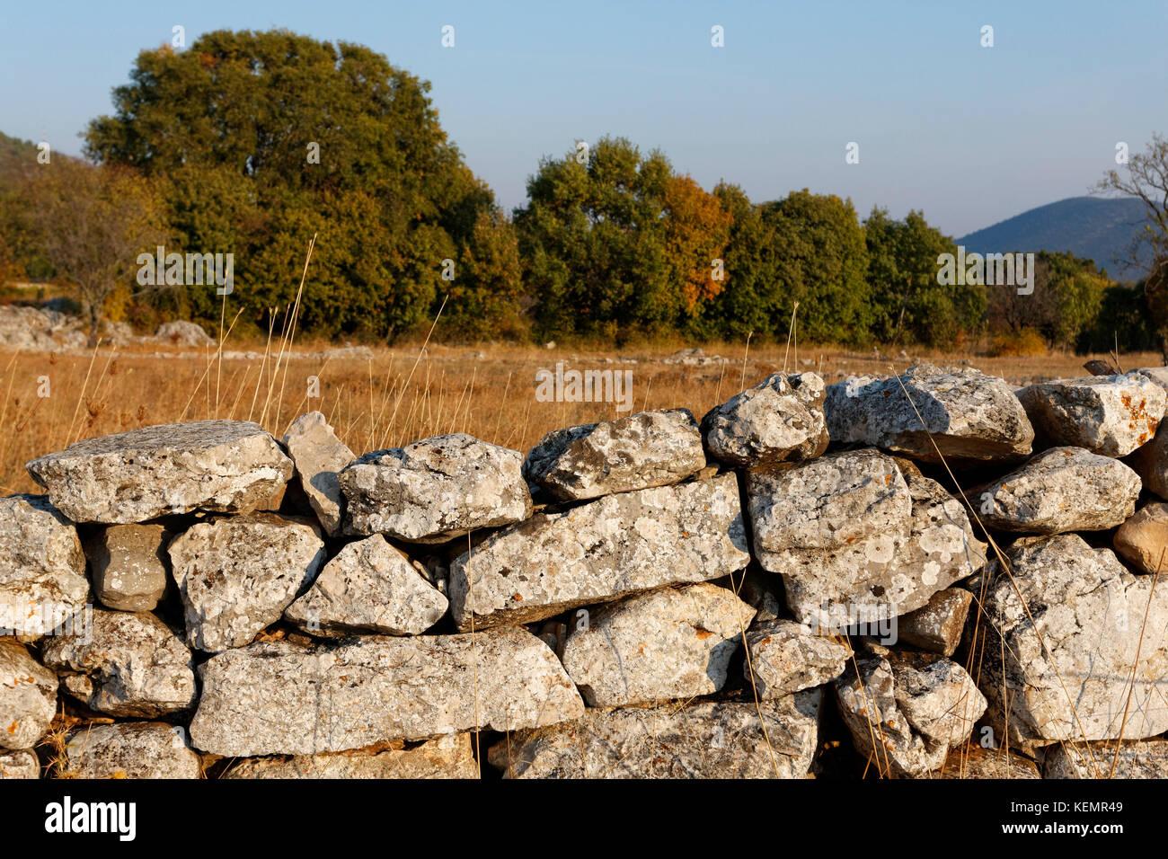 Autumn in Lika highland with dry walls, Croatia - Stock Image