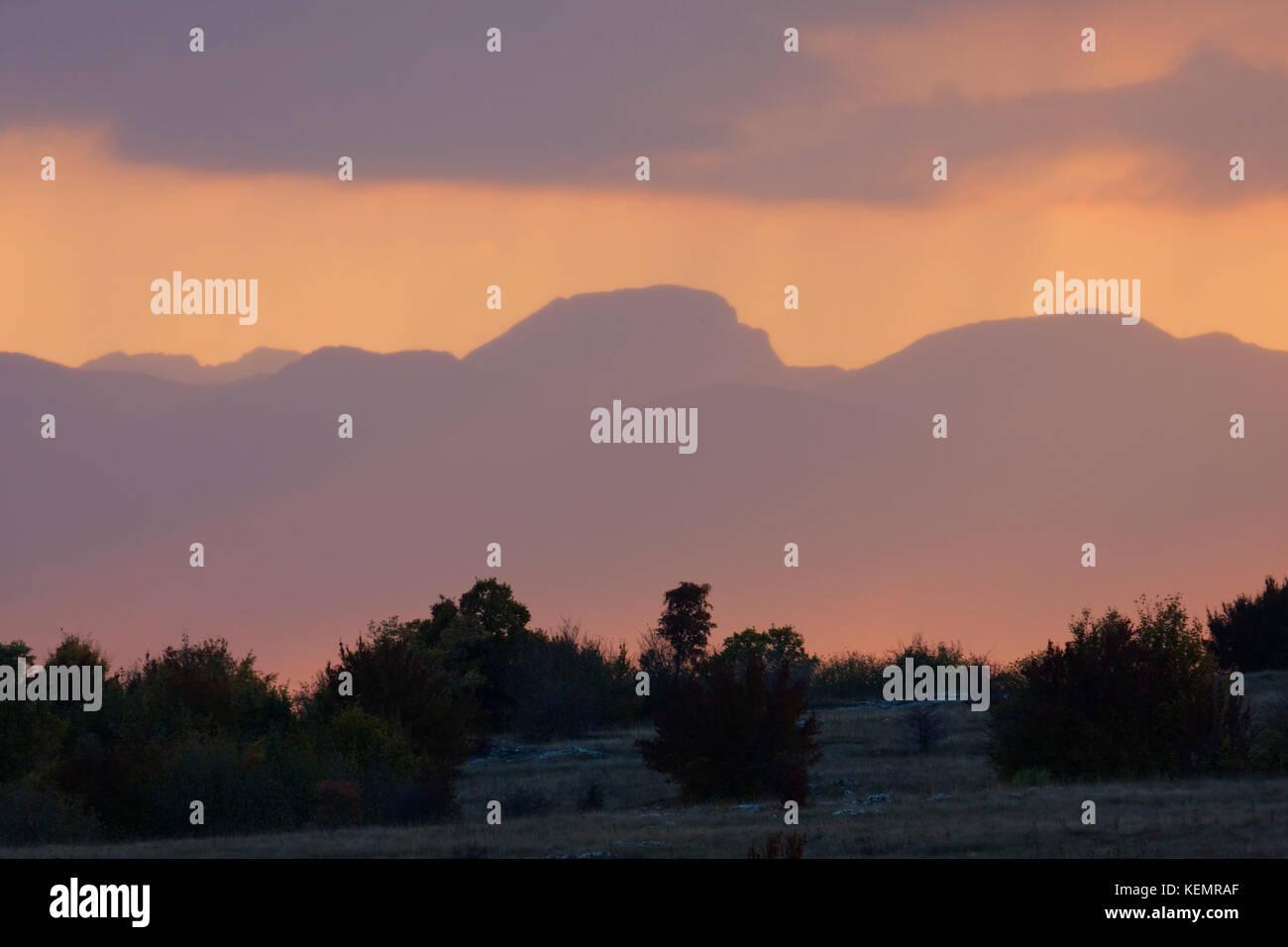 Sunset in Lika highland, Croatia - Stock Image