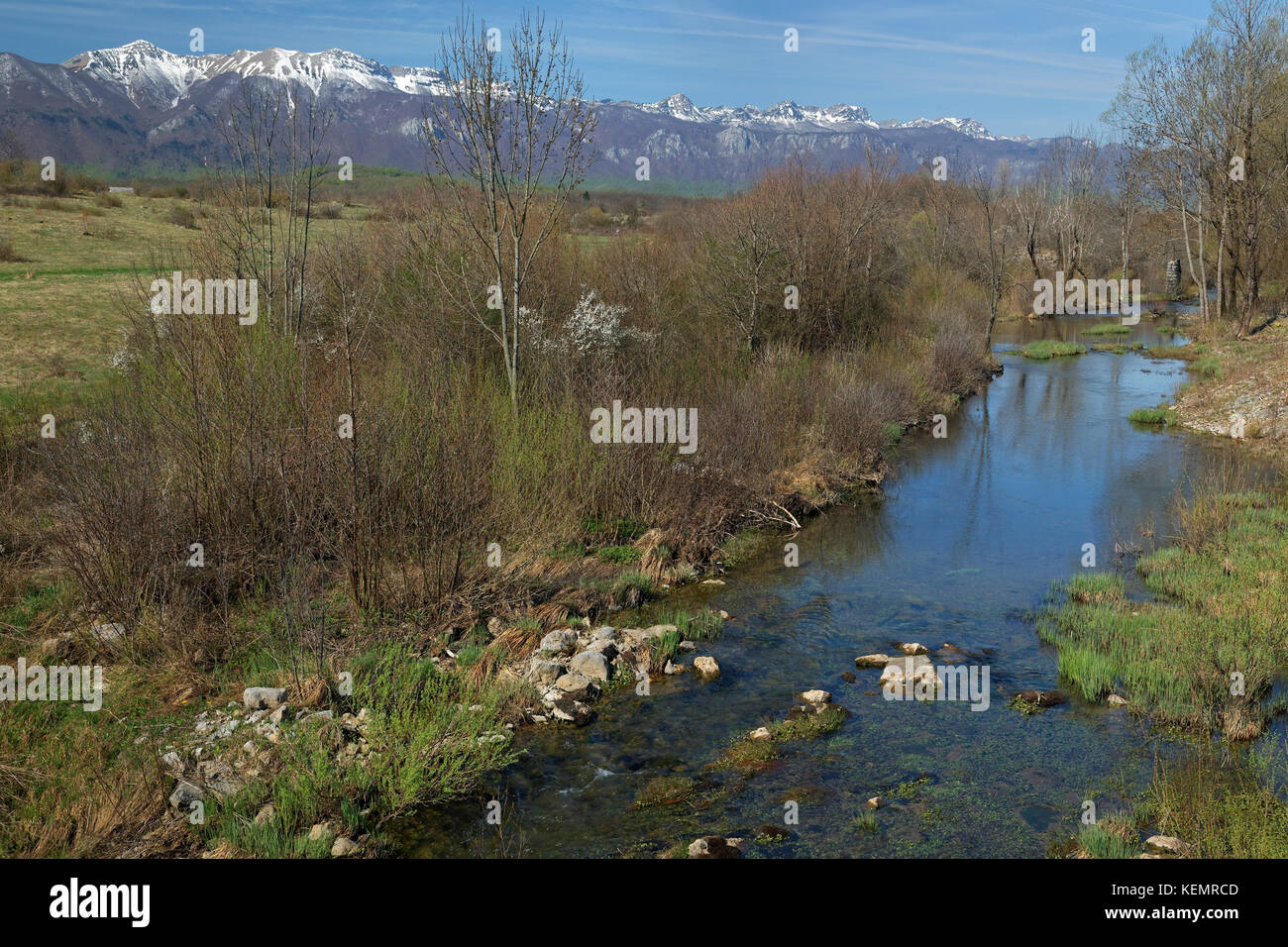 The intermittent river Suvaja, in Lika and Velebit, in early spring Stock Photo