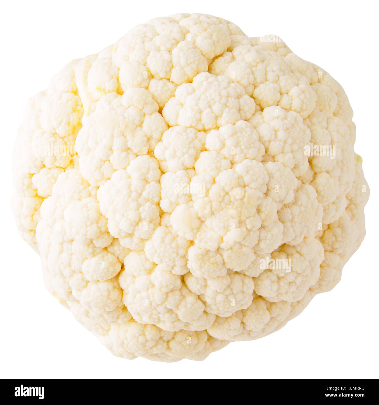 Isolated vegetables. Cauliflower isolated on white background with clipping path as a package design element. - Stock Image
