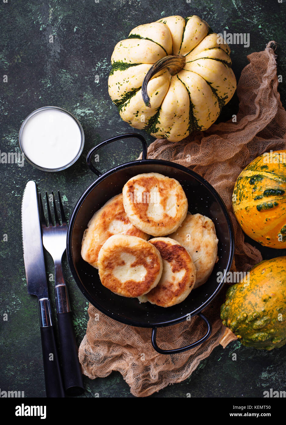 Delicious homemade pumpkins pancakes - Stock Image