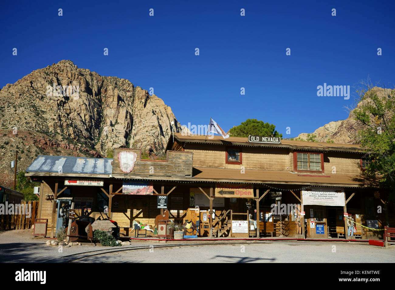 Antiques store and entertainement center of Bonnie Springs resort, Red Rock Canyon, Nevada - Stock Image