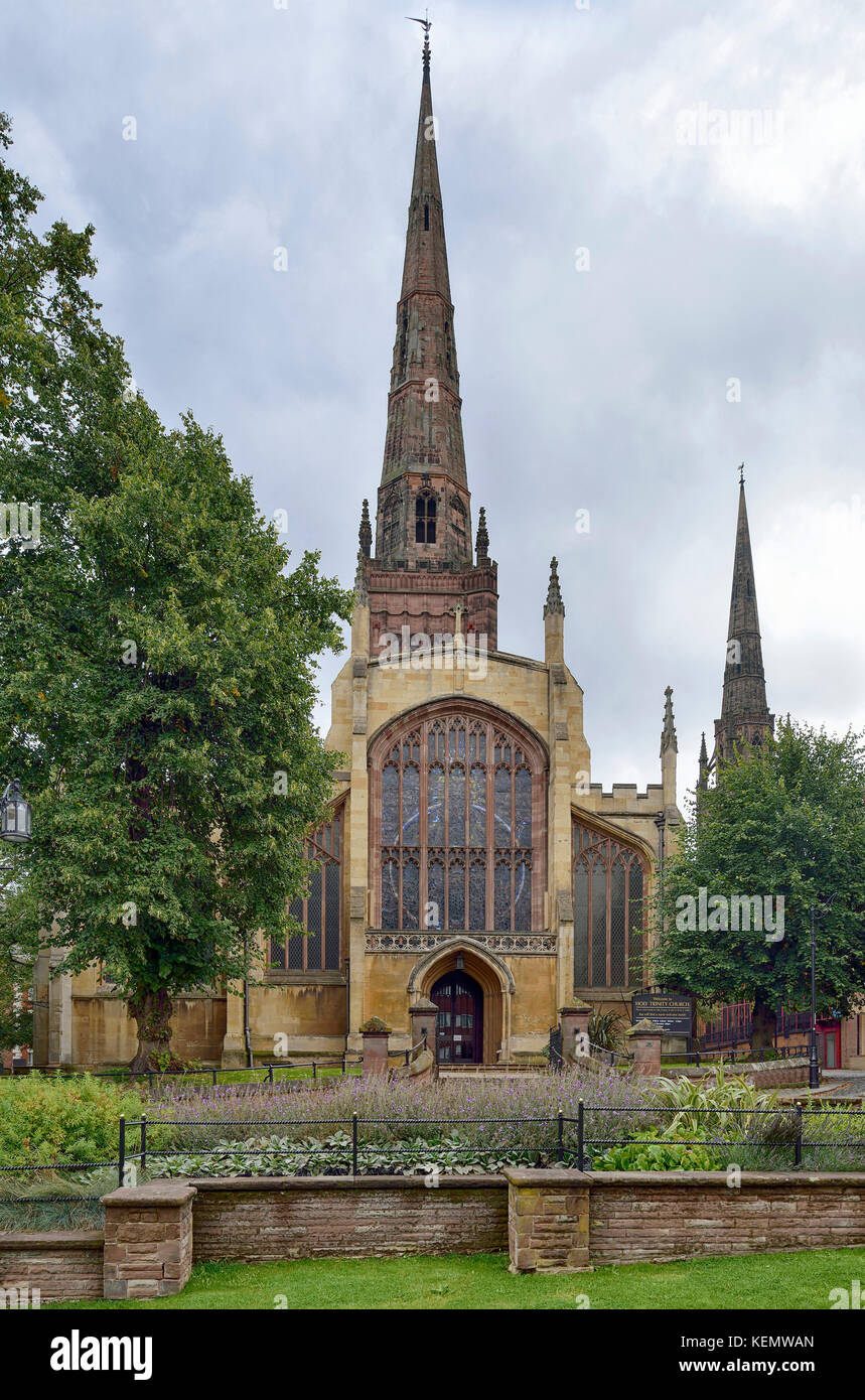 Holl Trinity Church, Broadgate, Coventry  Old Coventry Cathedral Spire behind right Stock Photo