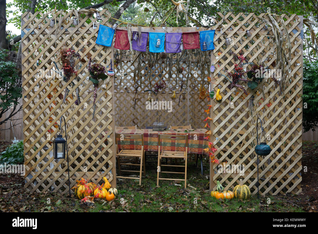 Jewish sukkah, a temporary structure for gathering in during the autumn harvest festival Sukkot - Stock Image