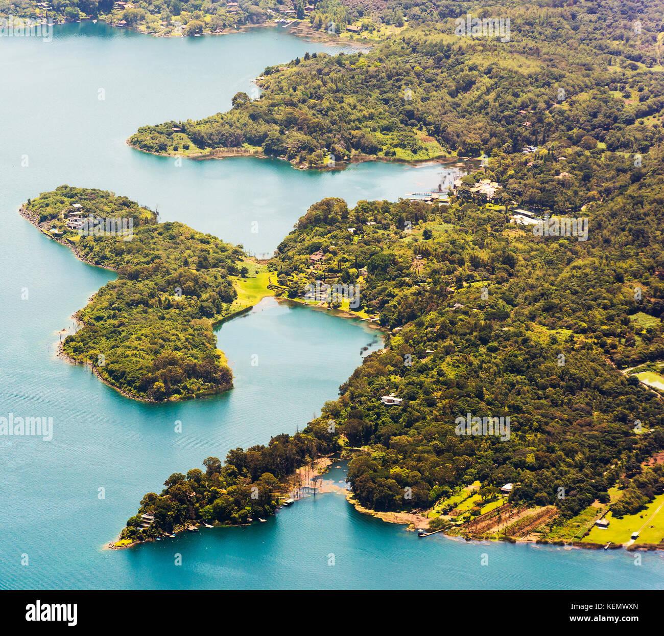 Lake Atitlan shoreline town Santiago, Guatemala, Central America - Stock Image