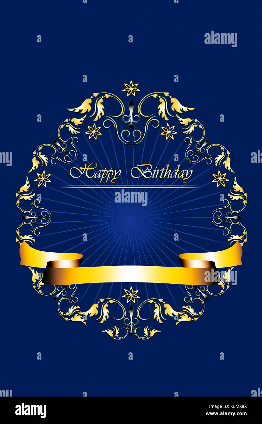 Card with gold frame of leaves with stars and Happy Birthday on radiant blue background - Stock Image