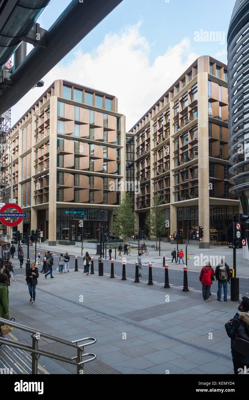 Bloomberg European headquarters, in the City of London, as seen from Cannon Street railway station. - Stock Image
