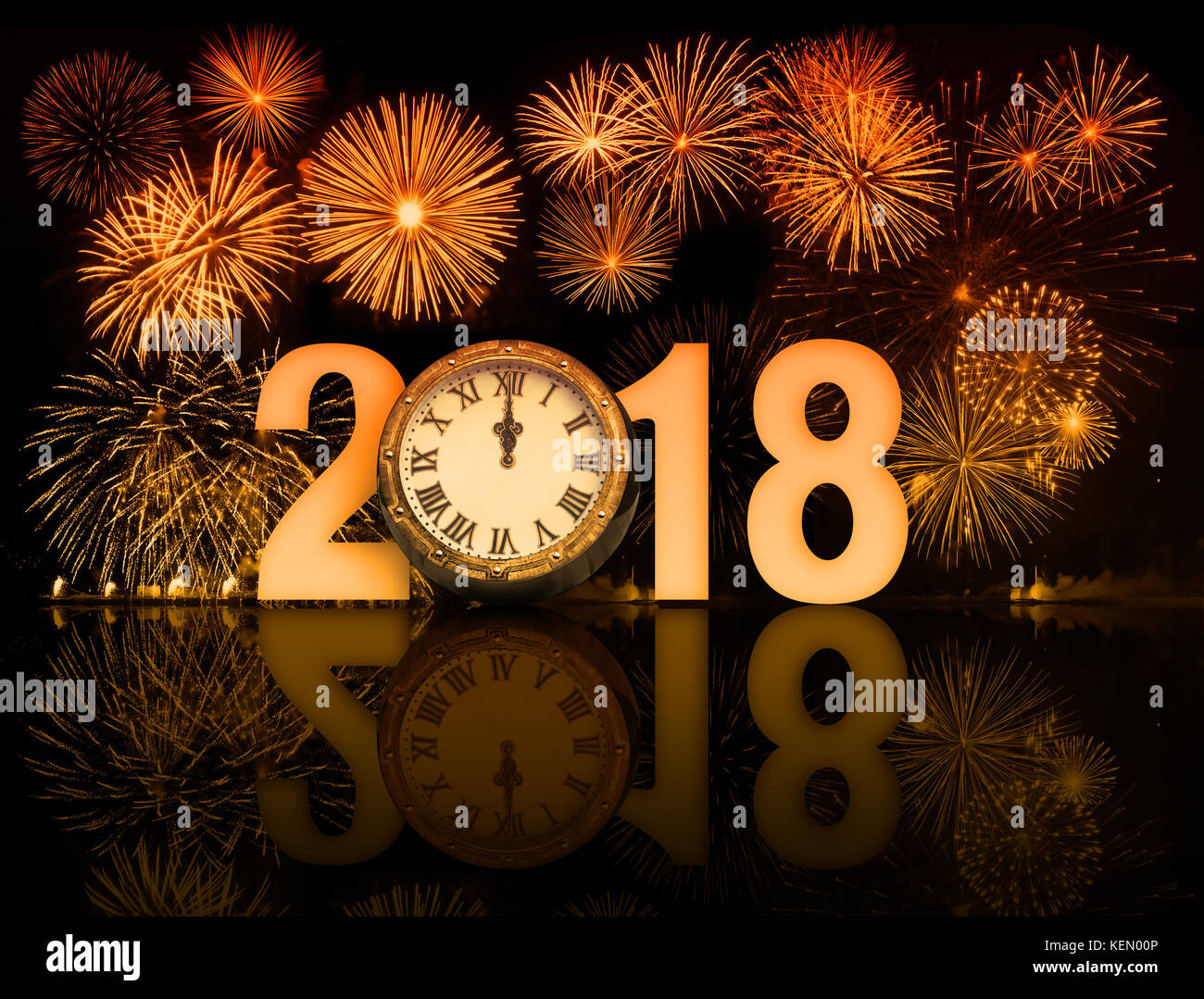 2018 fireworks with clock exactly at midnight 3d illustration Stock Photo