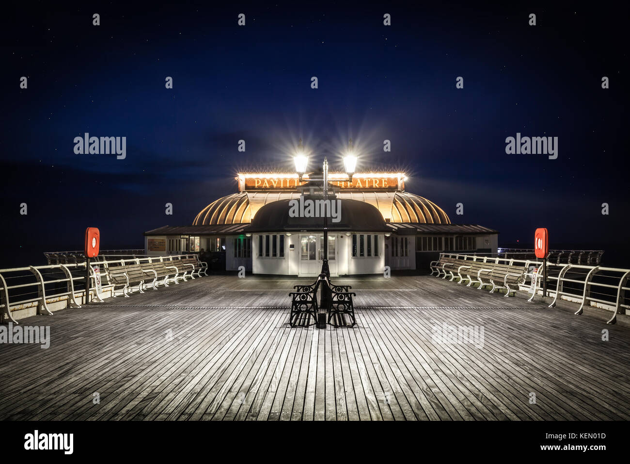 Cromer Pier Pavilion At Night - One of the greatest piers and pavilion theatre's in England jutting out from Cromer Stock Photo