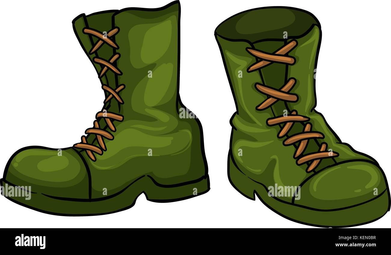 Illustration of a pair of green boots on a white background - Stock Vector