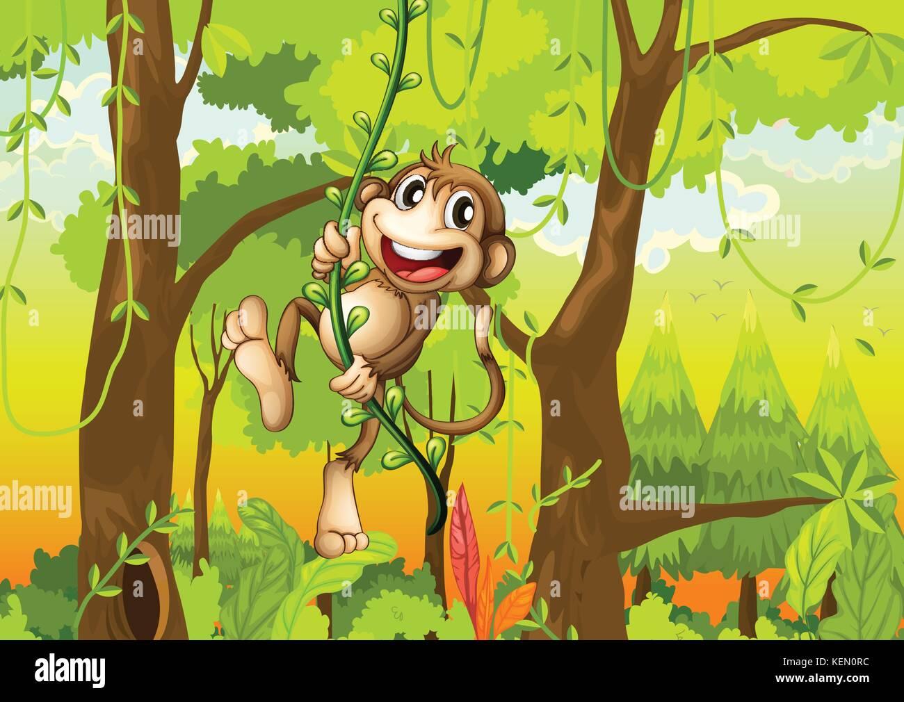 Monkey Swinging Through The Forest Stock Vector Art