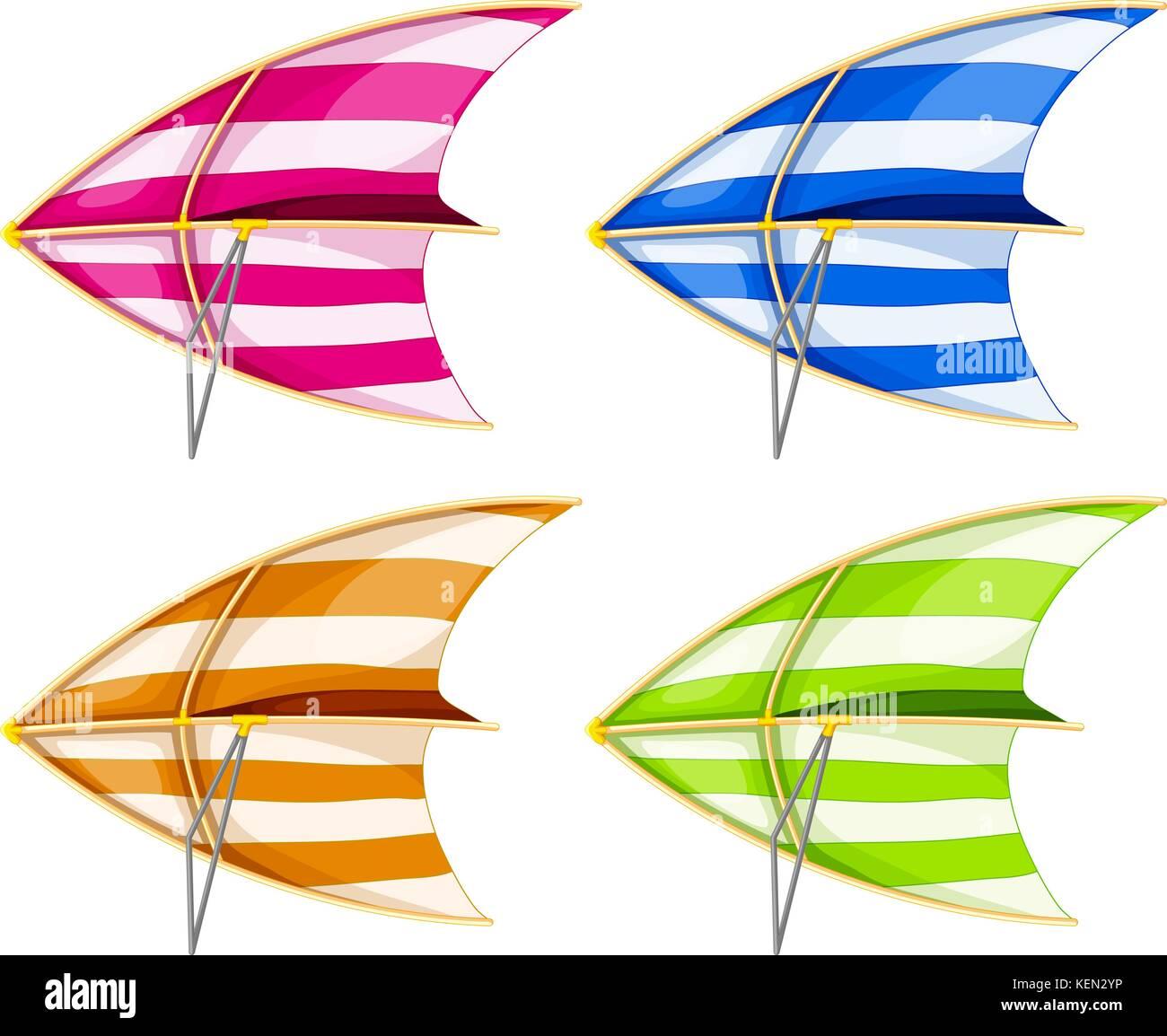 Set of 4 colorful hang gliders - Stock Image