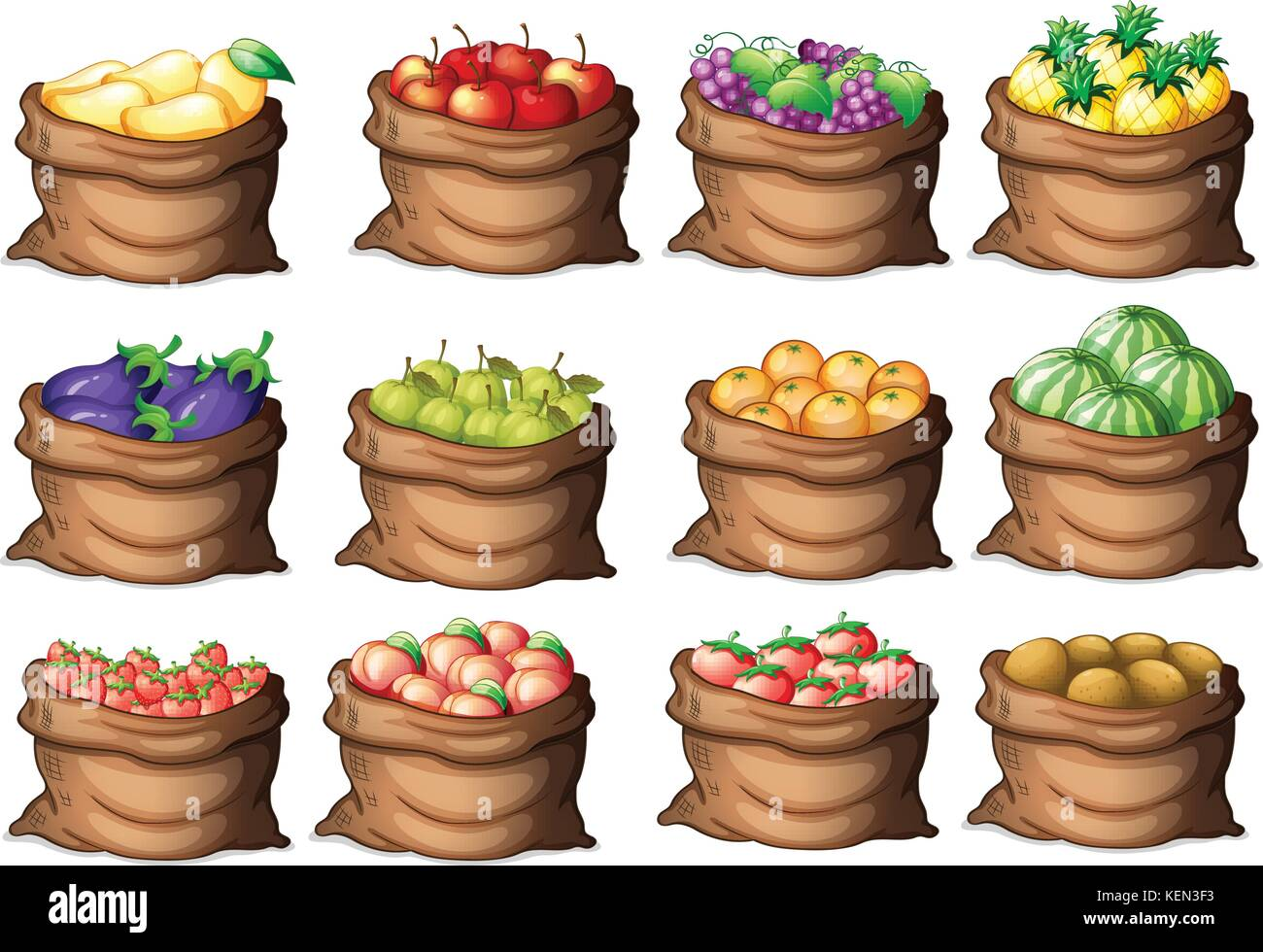 Illustration of the sacks with different fruits on a white background - Stock Vector