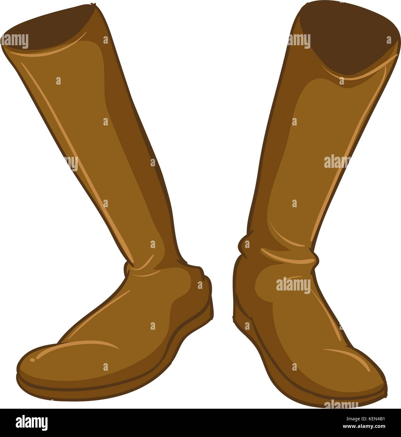 Illustration of a pair of a fashionable brown boots on a white background - Stock Vector