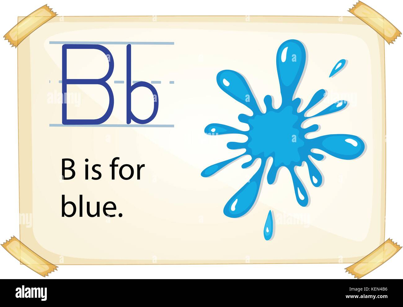 illustration of a flashcard letter B for blue - Stock Vector