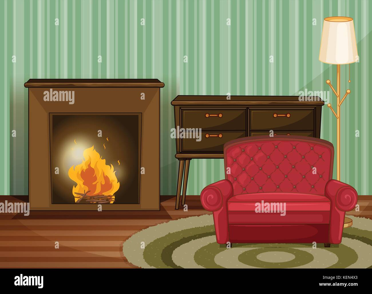 Illustration of a living room with fireplace - Stock Vector