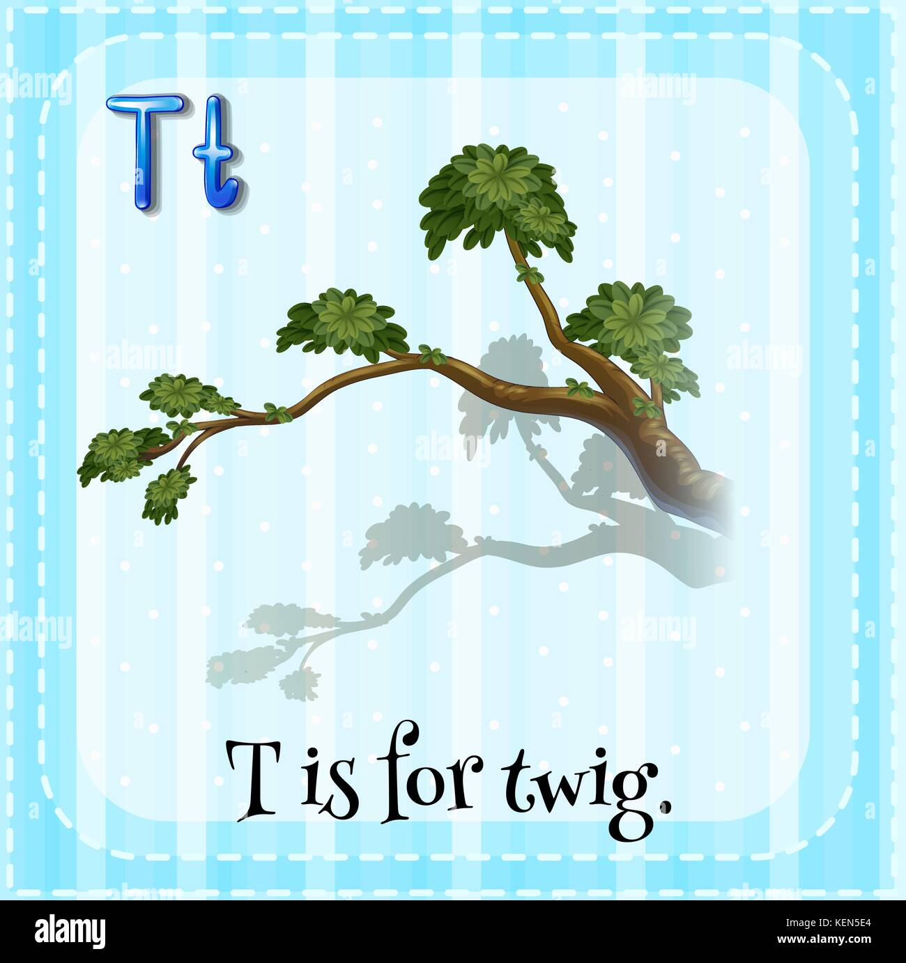 Illustration of an alphabet T is for twig - Stock Vector