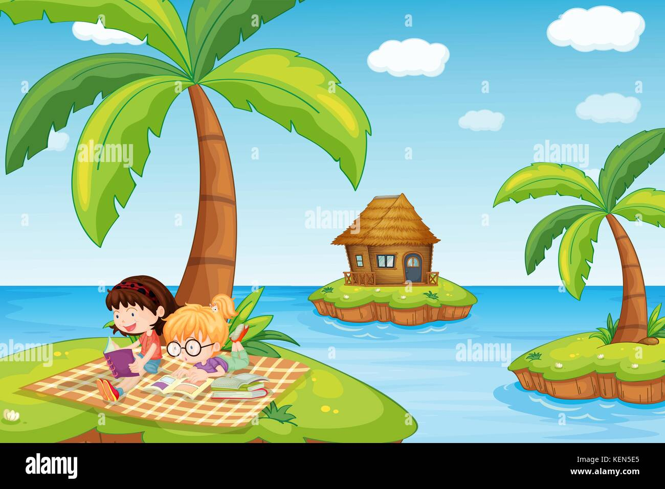 Illustration of the three islands in the ocean Stock Vector